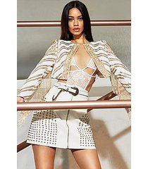 premium lexi studded zip through mini skirt