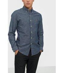 polo ralph lauren long sleeve indigo chambray shirt skjortor dark