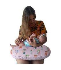 almofada de amamentação com ziper jardim encantado calupa rosa