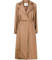manzoni 24 a-line belted waist trench coat - brown