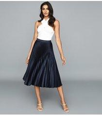 reiss dora - pleated midi skirt in navy, womens, size 12