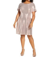 caxlz by connected apparel kym sequin fit & flare cocktail dress, size 16w in rosegold at nordstrom