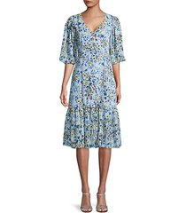 floral-print v-neck ruffled dress