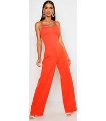 wide leg jumpsuit met cup detail en gekruiste rug, orange