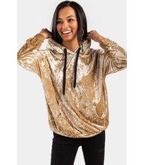 celeta velvet pullover hoodie - gold