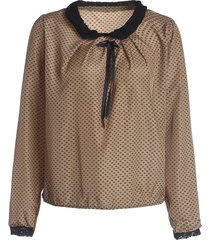 double lace with belt collar polka dot deisgn long sleeves blended women's blouse