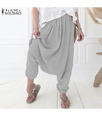 zanzea para mujer pantalones gota-entrepierna flojos ocasionales del tamaño de laides algodón pantalones plus -gris claro