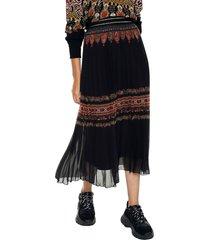 falda negro-café-terracota desigual