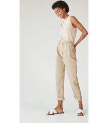 baggy jeans met elastische tailleband en koord