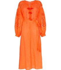 vita kin cherry blossom embroidered linen dress - orange
