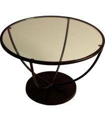 mesa lateral trident de metal com tampo de vidro temperado redondo
