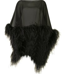 16arlington feather trimmed silk poncho - black