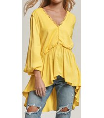 camicetta bohemian sexy backless high low v collo