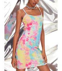 vestido de tirantes de espagueti sin mangas con cuello cuadrado y corte tie dye