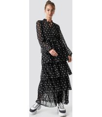 camille botten x na-kd dotted frilled maxi dress - black