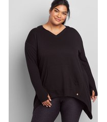 lane bryant women's livi high-low hoodie tunic 14/16 black