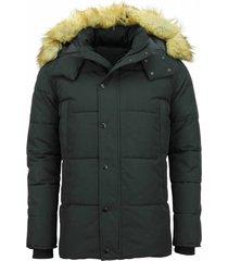 winterjas heren - winterjas mannen - jas met bontkraag- nep bontjas - zwart