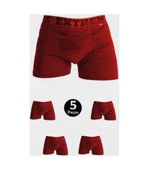 kit 5 cueca imi lingerie boxer em microfibra lisa estilo vermelho