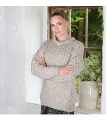 women's 100% soft merino wool crew neck sweater oatmeal xxl