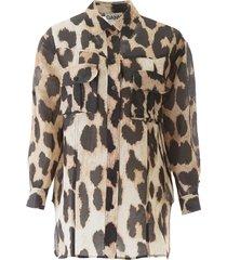 ganni maxi leopard print shirt