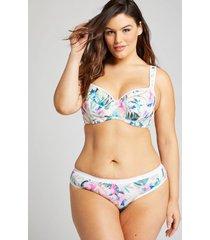 lane bryant women's no-show thong panty 26/28 white floral