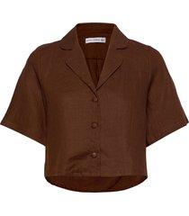 chaumont shirt overhemd met korte mouwen bruin faithfull the brand