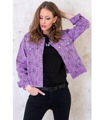cheetah spijkerjacket lila