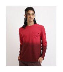 camiseta masculina degradê dip dye manga longa gola careca vermelho