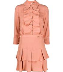 elisabetta franchi ruffled mini shirt dress - pink