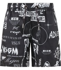 msgm black swimshort for boy with bandana print