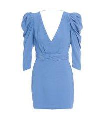 vestido mini ombro puff iorane - azul