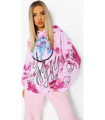 oversized tie dye peace hoodie, pink