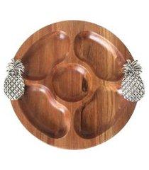 petisqueira de madeira abacaxi