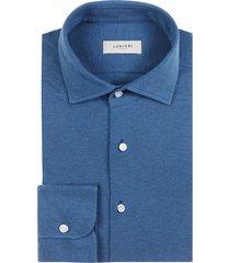 camicia da uomo su misura, maglificio maggia, blu polvere piquet cotone, quattro stagioni | lanieri