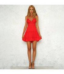 los encajes de moda mujer cuello v sexy vestido de verano en la playa elegante vestido sin mangas