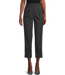 michael kors women's pleat-front pinstripe cropped trousers - black white - size 10