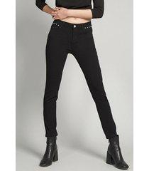 pantalón pitillo mujer strass gabardina negro rock liola