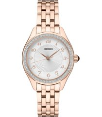 seiko women's rose gold-tone stainless steel bracelet watch 29mm