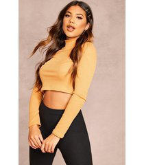 recycled roll neck rib crop sweater, tan