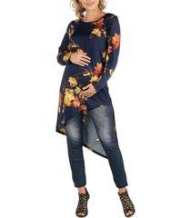 24seven comfort apparel long sleeve floral print asymmetrical maternity tunic top