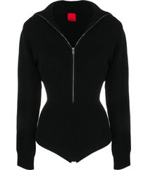 cashmere in love ribbed-knit high-neck bodysuit - black