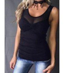 camiseta sin mangas sin mangas con cuello redondo y diseño transparente negro