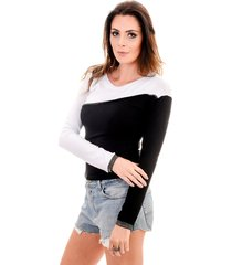 blusa 4 folhas manga longa branco/preto