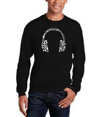 men's music note headphones word art crewneck sweatshirt