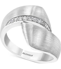 effy diamond satin finish bypass statement ring (1/10 ct. t.w.) in sterling silver