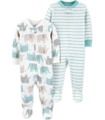 carter's baby 2-pk. cotton elephant footie coveralls
