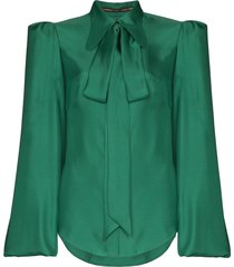 the vampire's wife bell sleeve tie-neck blouse - green