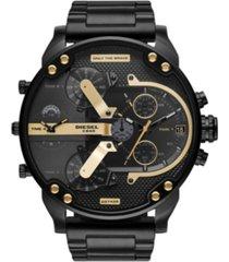 diesel men's big daddy chronograph black stainless steel bracelet 57mm