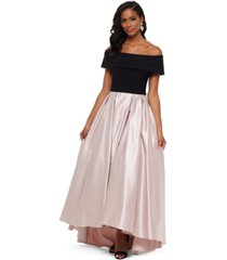 betsy & adam petite off-the-shoulder pleated gown
