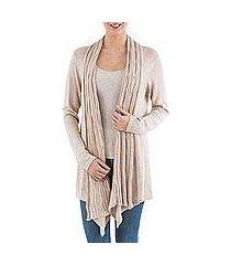 cardigan sweater, 'beige waterfall dream' (peru)